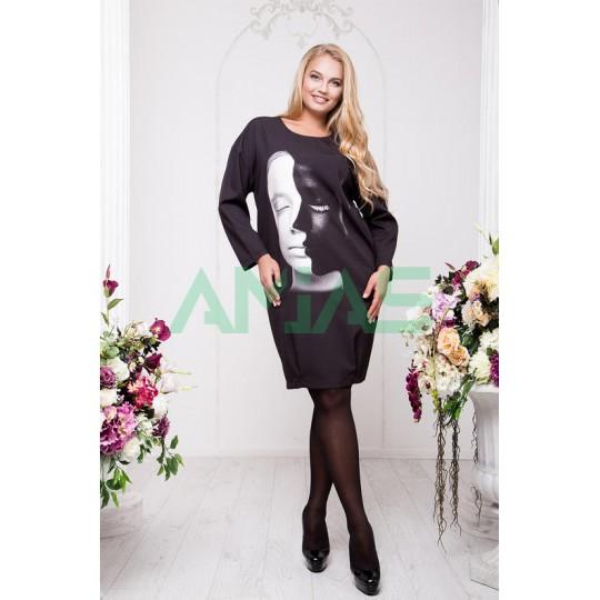 Черное трикотажное платье с оригинальным принтом, Арт. А9