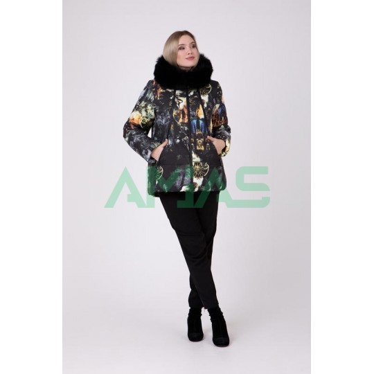 Зимняя женская куртка с мехом песец, Riches арт.677