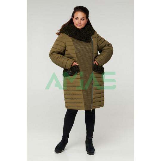 Пальто женское двубортное с опушкой Riches 902