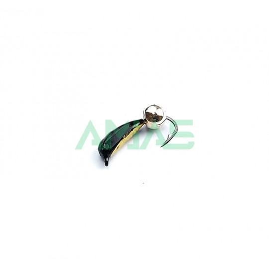 """Мормышка вольфрамовая """"Личинка поденки"""" №2 с латунным шариком"""